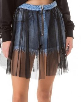 Shorts Denim Con Tulle Gaelle Paris