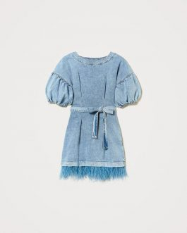 Abito in Denim con Piume Twin Set