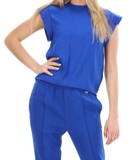 Blusa in Tripla Georgette Bluette Twin Set