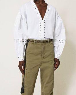Blusa con Borchie Bianco Twin Set