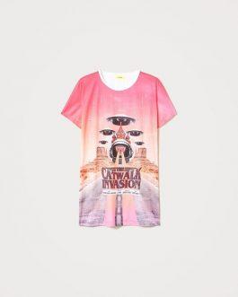 Maxi T-Shirt Stampa Fuxia Actitude