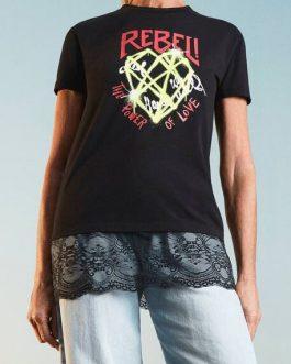 T-Shirt Stampata Nero Actitude