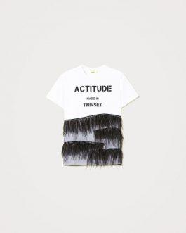 T-Shirt con Piume Bianco/Nero Actitude