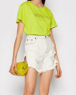 T-Shirt con Logo Giallo Twin Set