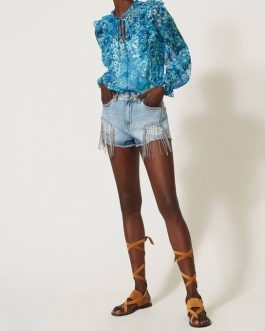 Shorts in Denim con Catene Twin Set