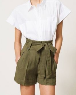 Shorts in Canvas con Cintura Verde Militare Twin Set