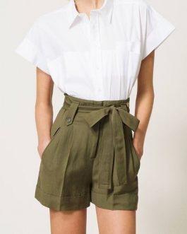 Shorts in Canvas con Cintura Verde Militare Twin Set