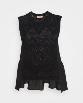 Top in Maglia Crochet Nero Twin Set