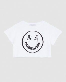 T-Shirt Let's Smile Bianco Patrizia Pepe Kids