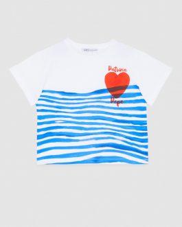 T-Shirt Rigata Heart Rigato Patrizia Pepe Kids