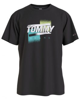 T-Shirt Faded Color Nero Tommy Jeans