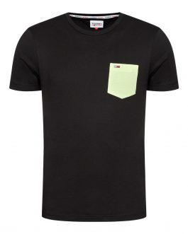 T-Shirt Contrast Pocket Nero Tommy Jeans