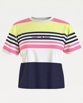 T-Shirt Crop Linear Fuxia Tommy Jeans