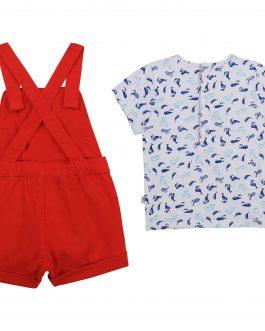 Salopette + T-Shirt Rosso/Bianco Carrement Beau