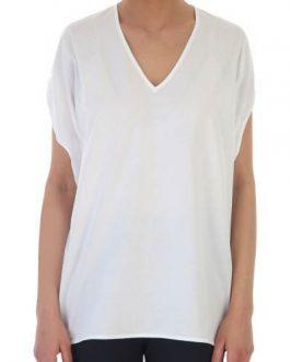 T-Shirt Over Scollo V Bianco Liviana Conti